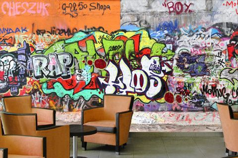 Bunte wand durch coole graffiti tapete - Graffiti ideen ...
