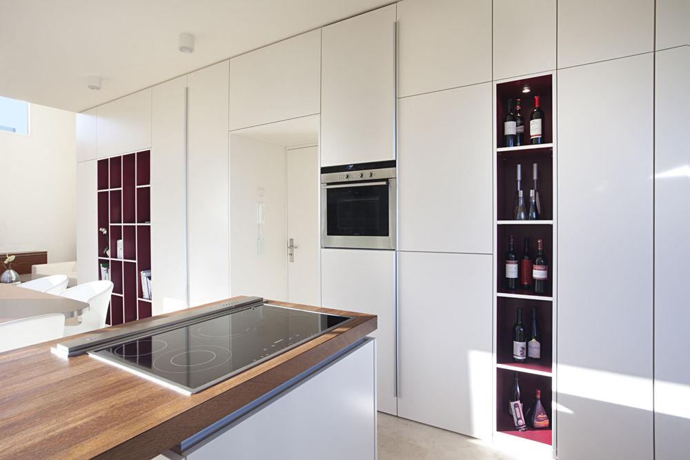 k che mit offenen regalelementen. Black Bedroom Furniture Sets. Home Design Ideas