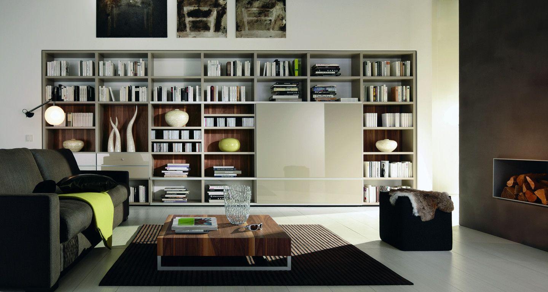 modernes wohnzimmer mit elegantem regalsystem. Black Bedroom Furniture Sets. Home Design Ideas